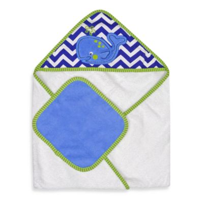 Whale Hooded Towel Washcloth Set