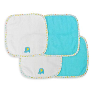 Neat Solutions® 4-Pack Washcloth Set in Turquoise Elephant