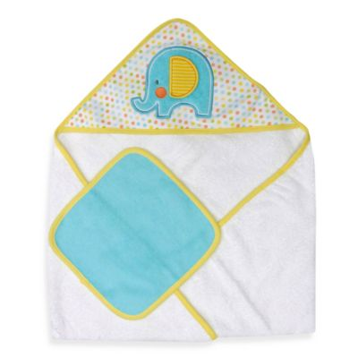 Aqua White Towel & Washcloth Set
