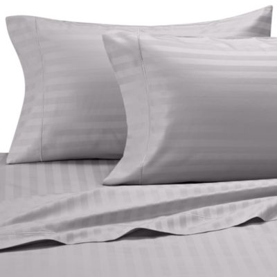Wamsutta® 500 Damask Stripe Queen Sheet Set in Silver