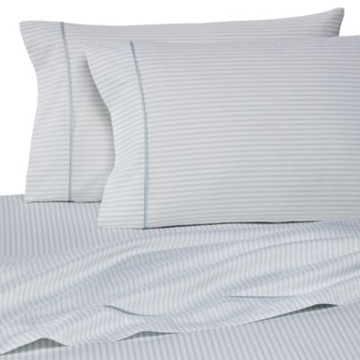 Wamsutta® 400 Thread Count Stripe Printed King Sheet Set in Sky Blue