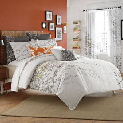 KAS® Penny King Duvet Cover in White/Coral
