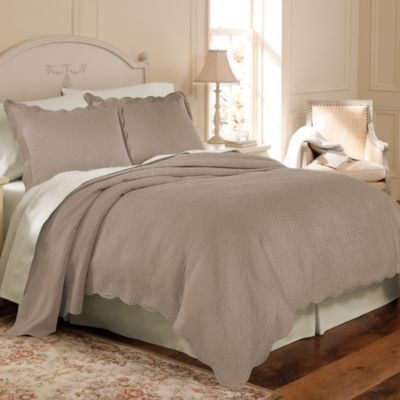 Matelasse Coventry Twin Coverlet Set in Taupe