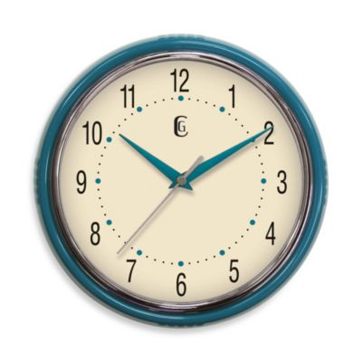 Retro Plastic Diner Clock in Teal