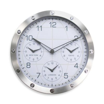 Metal Timezone Clock In Silver Case With Studs