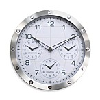 Geneva Metal Timezone Clock In Silver Case With Studs