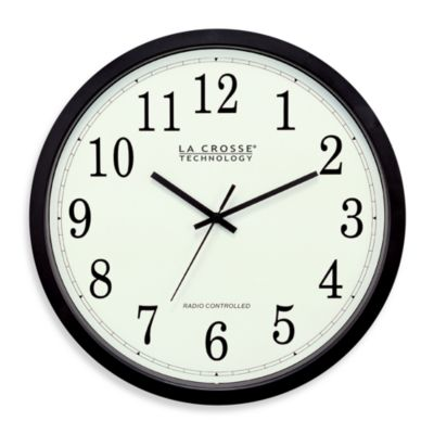 La Crosse® 14-Inch Atomic Wall Clock with Black Frame