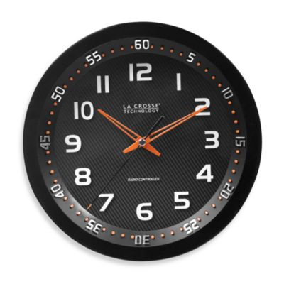 La Crosse® 10-Inch Atomic Black Chapter Ring Design Clock