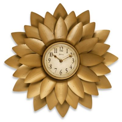 Infinity Instruments Midas Gold Flower Wall Clock