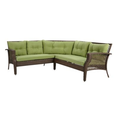 Wicker Deep Seating 3-Piece Sectional Sofa with Green Cushions