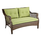 Wicker Deep Seating Outdoor Loveseat with Green Cushion