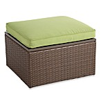 Wicker Storage Ottoman with Green Cushion