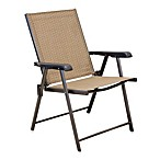 Folding Sling Chairs in Tan (Set of 2)