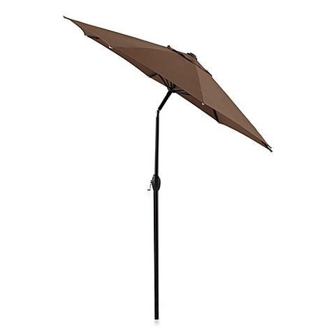 7-Foot Outdoor Bistro Umbrella with Aluminum Frame in Chocolate