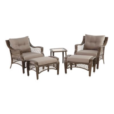 5-Piece Deep Seat Wicker Lounge Set with Grey Cushions