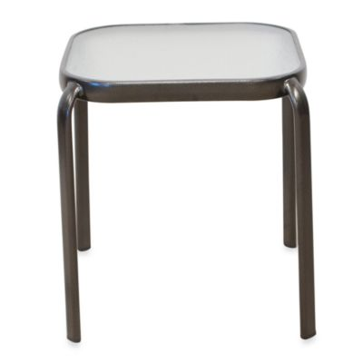 Glass Top Accent Table in Bronze