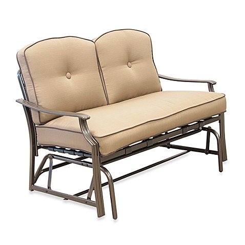 Tan Glider Loveseat