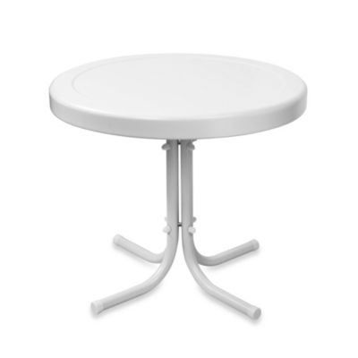 Crosley Griffith Outdoor Metal Side Table in White