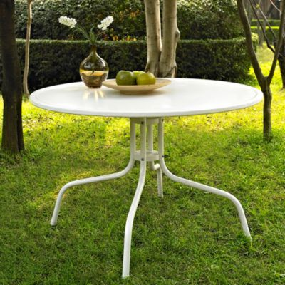 Griffith Metal 40-Inch Side Table in White Finish