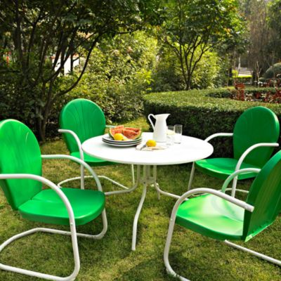 Griffith Metal 5-Piece Dining Set in White & Green