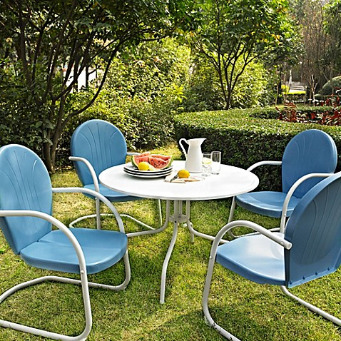Griffith 5-Piece Metal Dining Set in Blue/White
