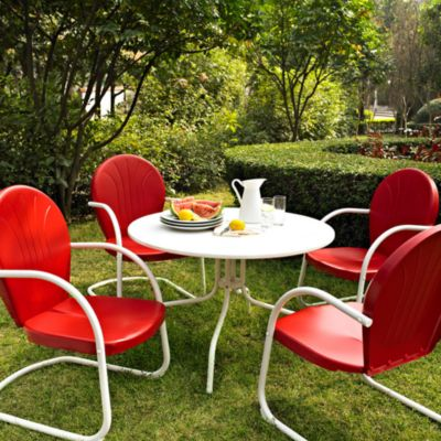 Crosley Griffith 5-Piece Metal Outdoor Dining Set in Red