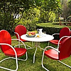 Griffith 5-Piece Metal Dining Set in Red/White