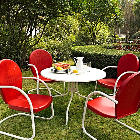 Crosley Griffith 5-Piece Metal Dining Set in Red
