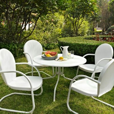 Crosley Griffith 5-Piece Metal Outdoor Dining Set in White