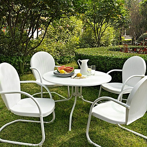 Crosley Griffith 5-Piece Metal Dining Set in White