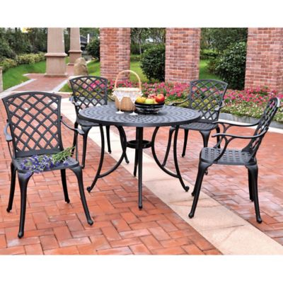 Sedona 48-Inch 5-Piece Outdoor Dining Set in Cast Aluminum - Black