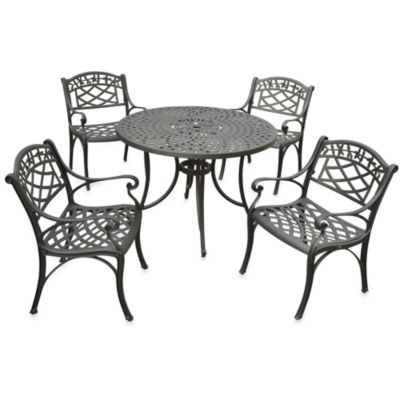 Sedona 42-Inch Cast Aluminum 5-Piece Outdoor Dining Set in Black