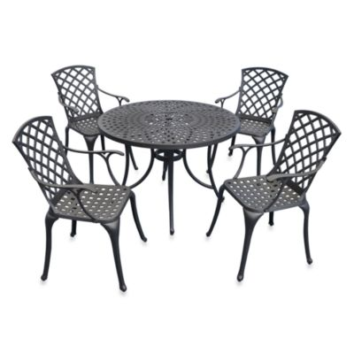 Sedona 42-Inch 5-Piece Outdoor Dining Set with High Back Chairs - Black