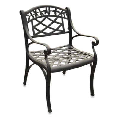 Sedona Cast Aluminum Outdoor Arm Chairs in Black (Set of 2)