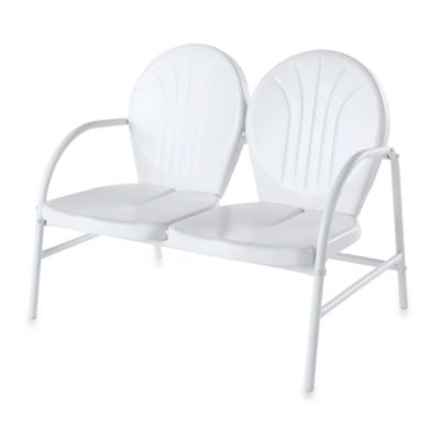 Griffith Metal Loveseat in White Finish