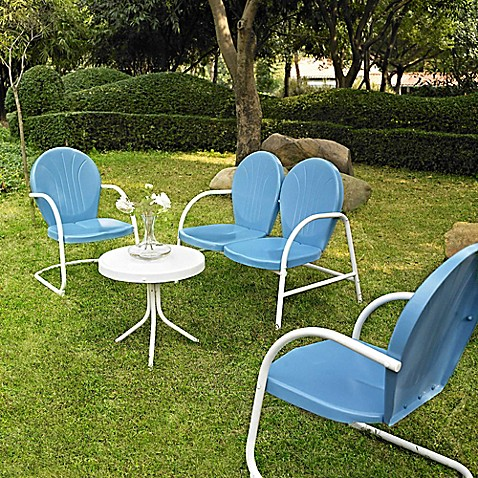 Griffith 4-Piece Metal Outdoor Furniture Set in Blue/White