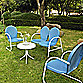 Crosley Griffith 4-Piece Metal Outdoor Seating Set in Sky Blue/White