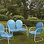 Griffith 3-Piece Metal Outdoor Seating Cushion Set in Sky Blue