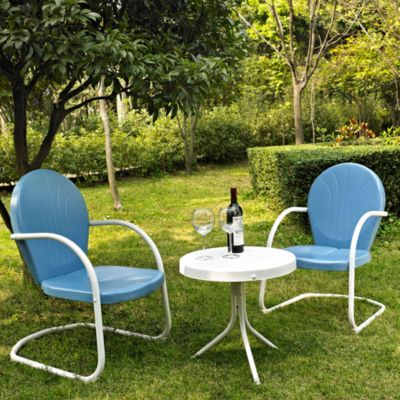 Griffith 3-Piece Metal Outdoor Seating Set in Sky Blue
