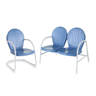 Crosley Furniture Griffith Loveseat and Chair Set in Sky Blue