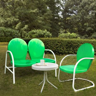 Griffith 3-Piece Metal Outdoor Seating Set in Grasshopper Green