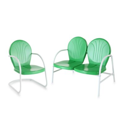 Crosley Griffith 2-Piece Metal Outdoor Seating Set in Grasshopper Green