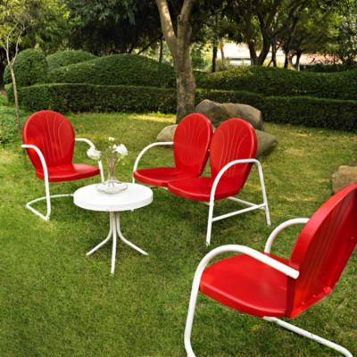 Griffith 4-Piece Metal Outdoor Furniture Set in Red/White