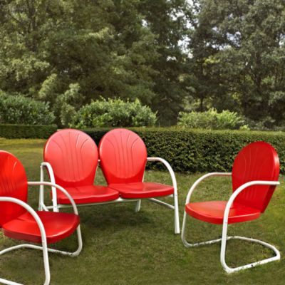 Griffith 3-Piece Metal Outdoor Seating Cushion Set in Red