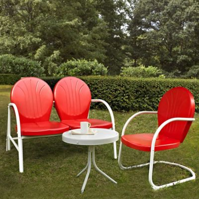 Griffith 3-Piece Metal Outdoor Seating Cushion Set in Red/White