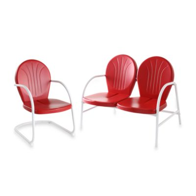 Griffith 2-Piece Metal Outdoor Seating Cushion Set in Red
