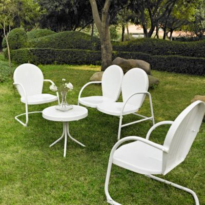 Crosley Griffith 4-Piece Metal Outdoor Seating Set in Red/White