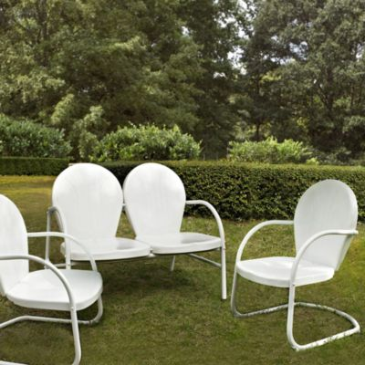 Griffith 3-Piece Metal Outdoor Seating Cushion Set in White