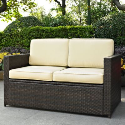 Crosley Palm Harbor Wicker Loveseat in Brown