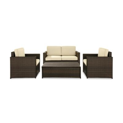 Crosley Palm Harbor 4-Piece Outdoor Wicker Conversation Set in Brown